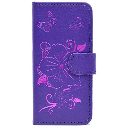 6 Plus / 6S Plus (5,5 Zoll) Hülle , Blumen und zwei Schmetterlingsmuster Magnetverschluss Standfunktion Brieftasche und Karten Slot , Komplett Schutzhülle (Disney Princess Verrückt)