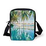 WITHY Landscape,Pool by The Beach with Seasonal Eden Hot Sunny Humid Coastal Bay Photography,Green Blue Print Kids Crossbody Messenger Bag Purse