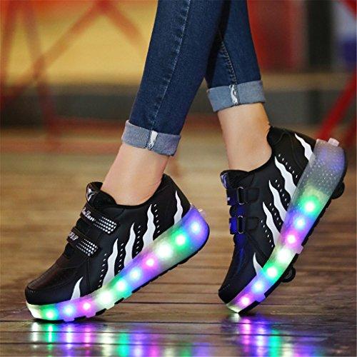 Wheelies Schuhe mit Rollen Rädern Skateboard Blinkschuhe Outdoor Sport Kinderschuhe Led Licht Turnschuhe Leuchtend Sneaker Mädchen Jungen Schwarz 5