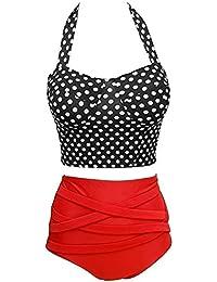 Missyhot Traje de baño de Dos Piezas Mujeres Bañador Retro 50s de Lunares Bikini Monokini para Playa Negro Rosa