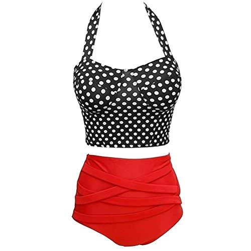 Missyhot Damen Zweiteiler Bademode Polka Dots Schwimmenanzug Monokini mit Punkten Push-Up Bikini Neckholder Badeanzug-Sets Badebekleidung
