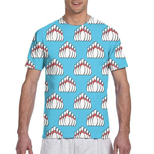 Zhgrong Herren T-Shirts Bowling Pins Muster 1 Kurzarm T-Shirts Rundhals Athletic Tees Tops