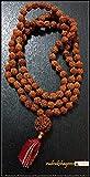 Rudraksha 108 japa mala beads rosary with 4 mukhi Guru bead Rudraksh mala for meditation yoga peace prayer Rare Handmade UK seller
