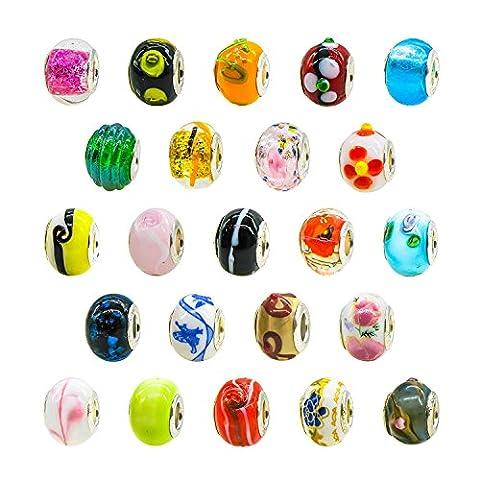 TOAOB Perles de verre en argent Perles de verre de Murano Pendentifs pour bijoux Bracelets à bijoux Colliers Pack de 50 pcs