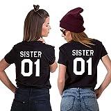 Couple Camp Beste Freunde Tshirt Set von 2 Woman Print Schwester 01 Kurzarm Paar Tee 2 Stück von (Schwarz+Schwarz, S+S)