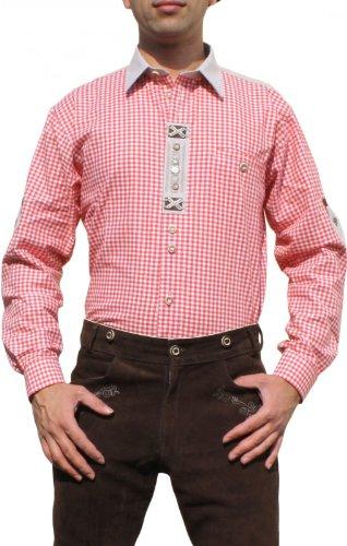 Trachtenhemd für Lederhosen mit Verzierung rot/kariert, Hemdgröße:S