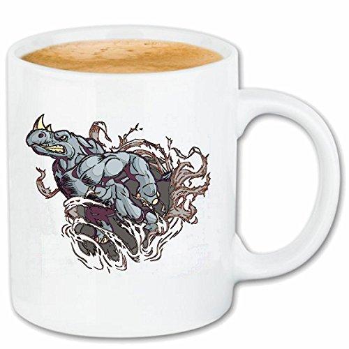 Reifen-Markt Kaffeetasse SEHR VERÄRGERTES NASHORN RHINOZEROSS Rhino NASHÖRNER UNPAARHUFER SPITZMAUL NASHORN Keramik 330 ml in Weiß
