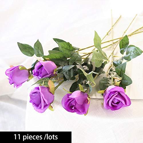 Suxiao 11 pezzi/lotto bouquet da sposa rose rosa fiori artificiali bianco rosso champagne viola fiori rosa per la festa, come colore dell'immagine