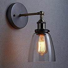Unimall Retro Aplique de Pared Lámpara Vintage Lámpara Industrial Lámpara de Pared Material Metal, Casquillo E27, de Cristal Transparente con Brazo Articulado Bombilla No Incluída