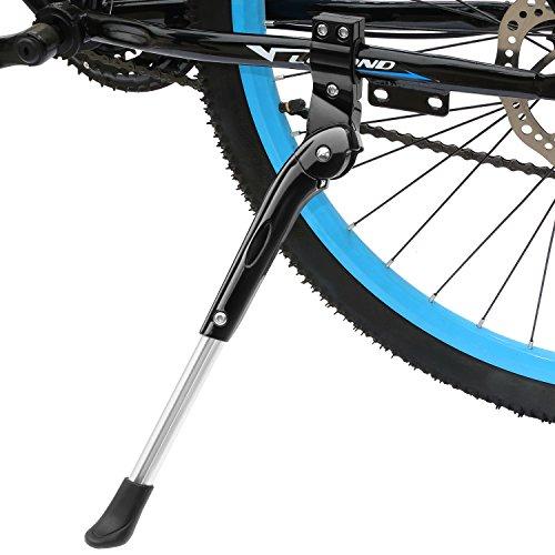 WeyTy Fahrradständer, Universal Höheneinstellbar Fahrrad Ständer faltbar Seitenständer Hinterbauständer mit Anti-Rutsch Gummifuß Aluminiunlegierung für Mountainbike, Rennrad, Fahrräder (Schwarz)
