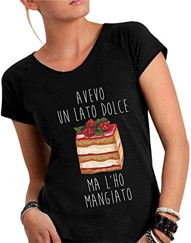 T-shirt DONNA cotone fiammato Scollo ampio a taglio vivo - AVEVO UN LATO DOLCE divertente humor MADE IN ITALY Nero