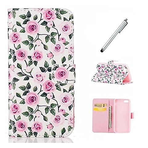 MUTOUREN Huawei P9 Lite Wallet Case Leather flip wallet slim case Magnetic Flip Case Cover card holder anti-shock scratch resistant-rose+mental silvery