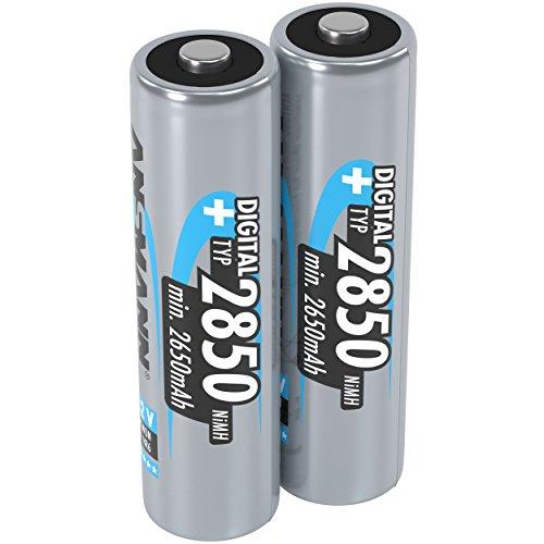 ANSMANN Akku AA Mignon Typ 2850mAh 1,2V - aufladbare AA Batterien mit hoher Kapazität & ohne Memory-Effekt - Batterien AA ideal für Digitalkamera Blitzgerät Taschenlampe Controller uvm - 2 Stück