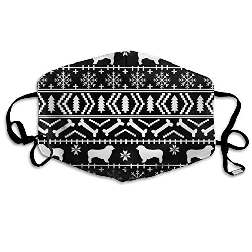 Australian Shepherd Fair Isle Christmas Dog Pattern Black Anti Dust Mask Washable Wiederverwendbar Mouth Masks