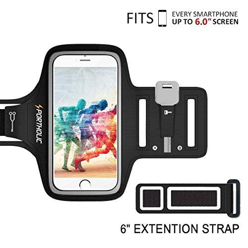 PORTHOLIC Schweißfest Sport Armband bis 6.0 zoll für iPhone X 8 Plus 7 Plus 6/6S Plus,Galaxy S8/S7 Plus edge,Note 8/6 LG g6 Huawei P10 Mate Xiaomi Mit Schlüsselhalter/Kabelfach/Kartenhalter(Schwarz+)