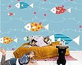 YUANLINGWEI Kreative Decor Customization Wandbild Einfache Farbe Fisch Muster Wohnzimmer Tv Sofa Hintergrund Wandmalerei Tapete,250Cm (H) X 330Cm (W)