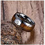 Men's Ring Made of Tungsten Silver and Wooden with Zircon Stone and Size 12
