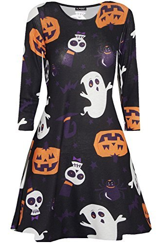 Oops Outlet Damen Skelett Schädel Pumpkin Halloween Kostüm Party Swing Kleid - Schädel & Ghost, M/L (UK 12/14)