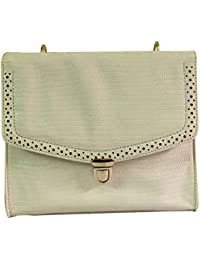VINAY AND VIJAY Women's Classy Sling Bag With Brogue Design White