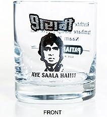 Ek Do Dhai Sharabi Whiskey Glass Set, 2-Pieces, 300ml, Black/White