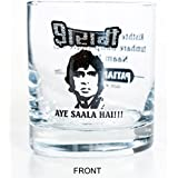 Ek Do Dhai Sharabi Whiskey Glass Set, 2-Pieces, 300ml, Black/White