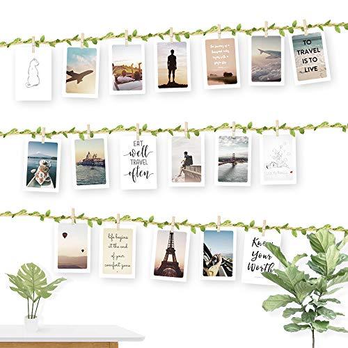 rünes Blatt für Kreative und Schöne Dekoration DIY Bilderrahmen Wanddekoration 3 Meter Fotoleine mit 30 Mini-Holz-Klammern und 10 spurlosen Nägeln Fotoaufhängung ()