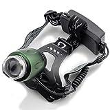 Genwiss CREE XM-L T6 Zoom fari a LED 3000LM Torcia luce 2 * 18650 Lampada frontale ricaricabile per campeggio Bicicletta Caccia di lavoro Pesca Equitazione (Verde, inclusa batteria e caricabatterie)