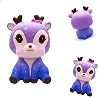 Hirsrian Squeeze Toy, Galaxy Cute Deer Cream Scented Slow Rising Squishy Strap Decompression Toy Gift Stress Reliever for kids and adults