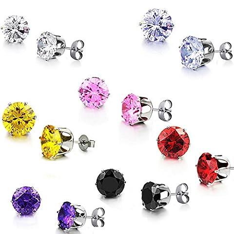 JewelryWe Schmuck 7 Paare Damen Herren Ohrstecker, Runde Zirkonia Edelstahl Hypoallergen Nickel-frei Ohrringe Ohrschmuck, 7 Farben