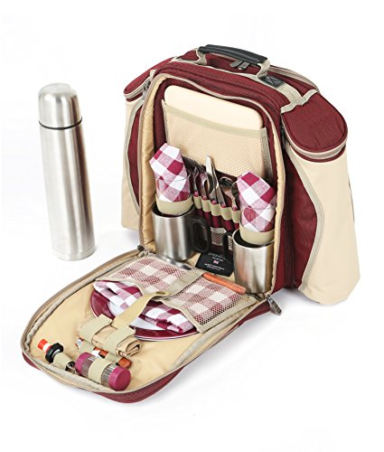 The Greenfield Collection BPS2RDH Super Deluxe zwei Personen luxus Picknick Rucksack, weinrot