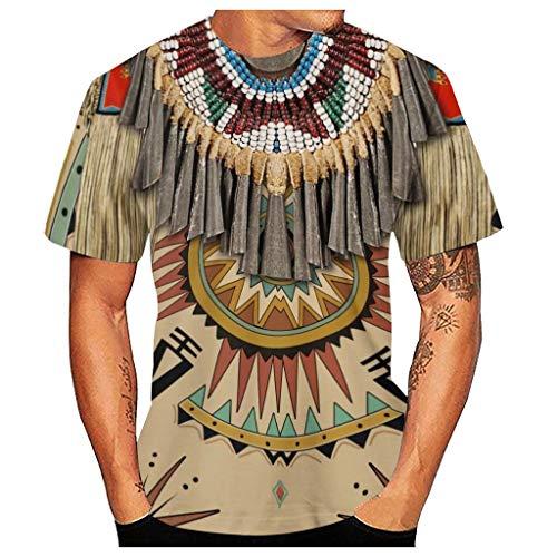 Aoogo Herren Kurzarm Indischer Druck Summer T-Shirt mit 3D-Druck Cooles T-Shirt Tops Fashion Shirts