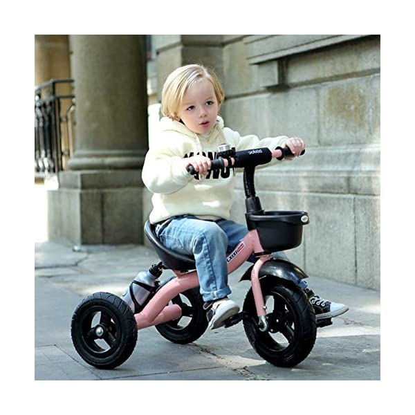 GSDZSY - Adjustable Size Children Kids Tricycle,EVA Tire/Rubber Tire Non-slip And Wear Resistant,easy Installation,Suitable For Children 18 Months - 5 Years Old,Red_EVA GSDZSY ❀ Material: High-carbon steel +ABS+EVA tire / rubber tire ,Suitable for 18 Months to 5 years old Child, Maximum Load 30 kg ❀ Sturdy frame and light weight, the handlebar has a protective sponge cover to protect the child's forehead ❀ Baby tricycle can be quickly Dismantled and Assembled and suitable for Mother installed 8