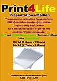 50 Blatt DIN A4 Beidseitige glasklare transparente bedruckbare Universal OHP Folie 0,1mm f�r Farblaserdrucker/-kopierer mit niedrigeren Fixiertemperaturen. Bild