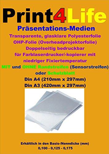 25 Blatt DIN A3 beidseitige glasklare transparente Universal OHP Overheadprojektor Folie 0,125mm für Farblaserdrucker / - kopierer mit hoher Fixiertemperatur (Laser-toner-folie)