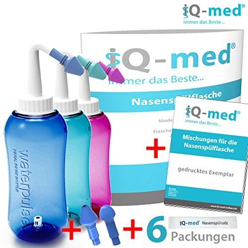 Nasendusche von iQ-med® 500ml + Rezeptbuch + 2 Aufsätze | Nasenspülung: Natürliche Hilfe bei Erkältung und Allergien | auch für Kinder geeignet | Nasenspülkanne, Nasen-Dusche, Nasen-kanne, Nasenspülset, Nasen-spülung, Nethi, Neti, Nase Spül-kanne (rosa)