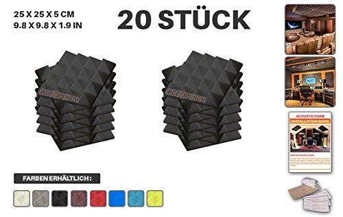 Acepunch 20 Stücke SCHWARZ Pyramide Akustikschaumstoff Schallschutzisolierung Studio Fliesen Mit freien Klebestreifen 25 x 25 x 5 cm AP1034 (Platten Heimkino-akustische)
