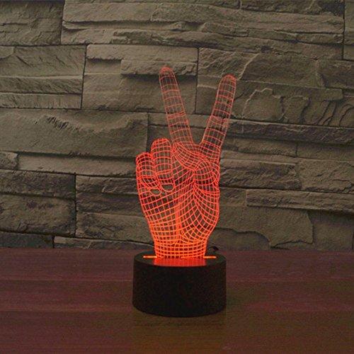 Lampe 3D ILLUSION Lichter der Nacht, kingcoo 7Farben LED Acryl Licht 3D Creative Berührungsschalter Stereo Visual Atmosphäre Schreibtischlampe Tisch-, Geschenk für Weihnachten, Kunststoff, la victoire 0.50 wattsW - 5