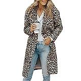 Damen Wintermantel Dasongff Leoparden Oberteil Frauen Open Front Cardigan Wasserfall Jacke Lapel Trenchcoat Button Langarmshirt Herbst Kleidung