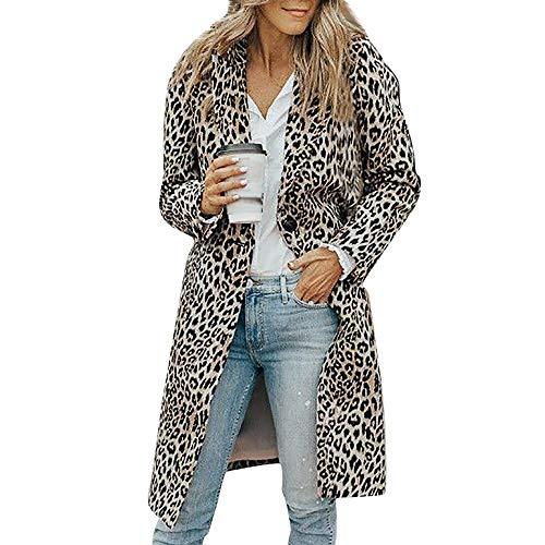 Fanxing Damen Winterjacke Long Sleeve Leopard Print Button Mode Mantel Bluse T-Shirt Tank Tops (Braun, XL) -