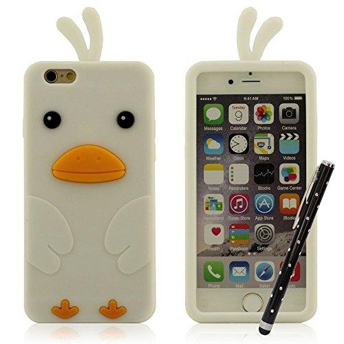 Mignon Canard Conception Coque pour iPhone 6 / iPhone 6S + Stylus Pen, Case pour iPhone 6 / iPhone 6S (4.7 Pouce) Souple Doux Silicone Housse etui de Protection Blanc
