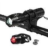 Lospu HY® 500 Lumen 5 Licht-Modi LED Fahrradbeleuchtung Frontlichter und Rücklicht, Halterung, Zoombarer Effekt für Berg-Radfahren, Camping und täglichen Gebrauch