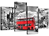 City London Canvas Prints of Red Bus in Black & White for Living Room Cityscape by Wallfillers
