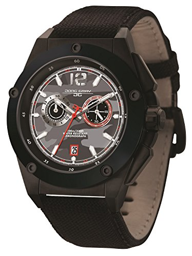 Jorg Gray Men's Watch JG8800-22 The Covert Collection Chronograph Black Canvas
