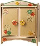 DIDA Puppenschrank aus Holz mit Garderobenstange für Puppen bis 35 cm Höhe- Dekoration: Blumen
