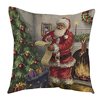 Decorie Retro Xmas Design Santa Claus Cushion Cover for Sofa Bed Home Decor - low-cost UK light store.