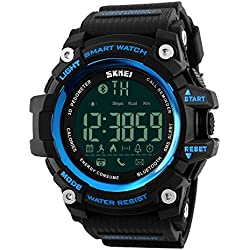 Farsler Smart Bluetooth 4.0 Multifunction Men's 50M Waterproof Pedometer Watch Calories Track Remote Shooting Alarm clock Neutral Outdoor Sports Electronic Digital Watch(Blue)