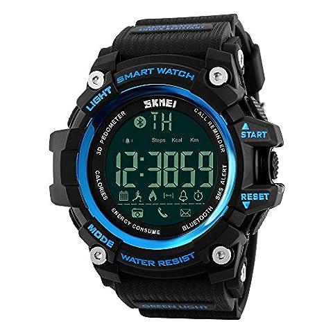 Farsler Smart Bluetooth 4.0multifonction pour homme 50m étanche podomètre montre les calories suivi de prise de vue à distance d'alarme Horloge électronique de sports de plein air Neutre montre numérique (Bleu)