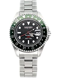 Nautec No Limit Deep Sea DS GMT/STGR - Reloj de caballero automático, correa de acero inoxidable color plata