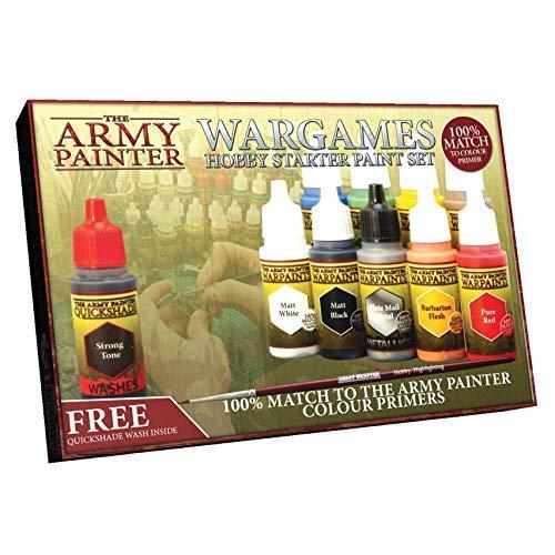 The Army Painter - Warpaints Starter Farbset | 10 Acrylfarben und 1 Pinsel | für Beginner in der Wargames Miniatur Modellmalerei -