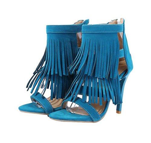 Große Damenschuhe Hochhackigen Sommer Quasten Sandalen (Farbe : Blau, Größe : 41)